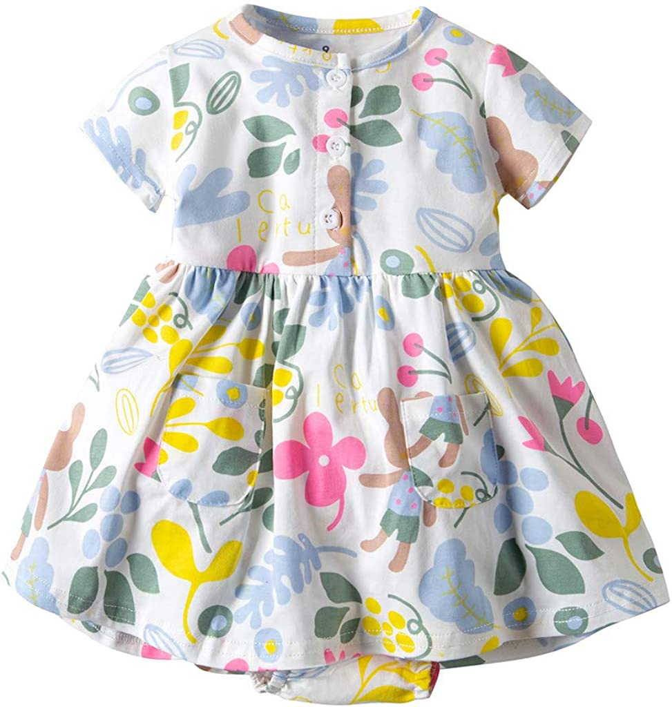 CSSD Kids Heart Print O-Neck Breathable Tops Cute Skirt Button Clothing Girl Short Sleeve Dresses with Pocket