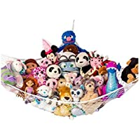 "Toy Hammocks, Huijukon Jumbo Toy Hammock Corner Toy Hammock Cuddly Toy Storage Hammock Net Organiser | Size: 84"" x 59"" x 59"" for Cuddly Toys, Stuffed Animals, Teddies, Soft Toys (White)"