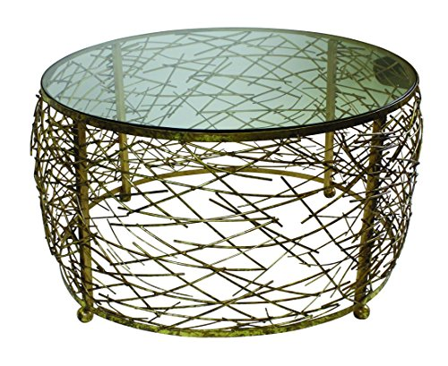 Italian Gold Iron Round Twig Design Cocktail Table with Inset Glass Top - Round Glass Inset Tall Table