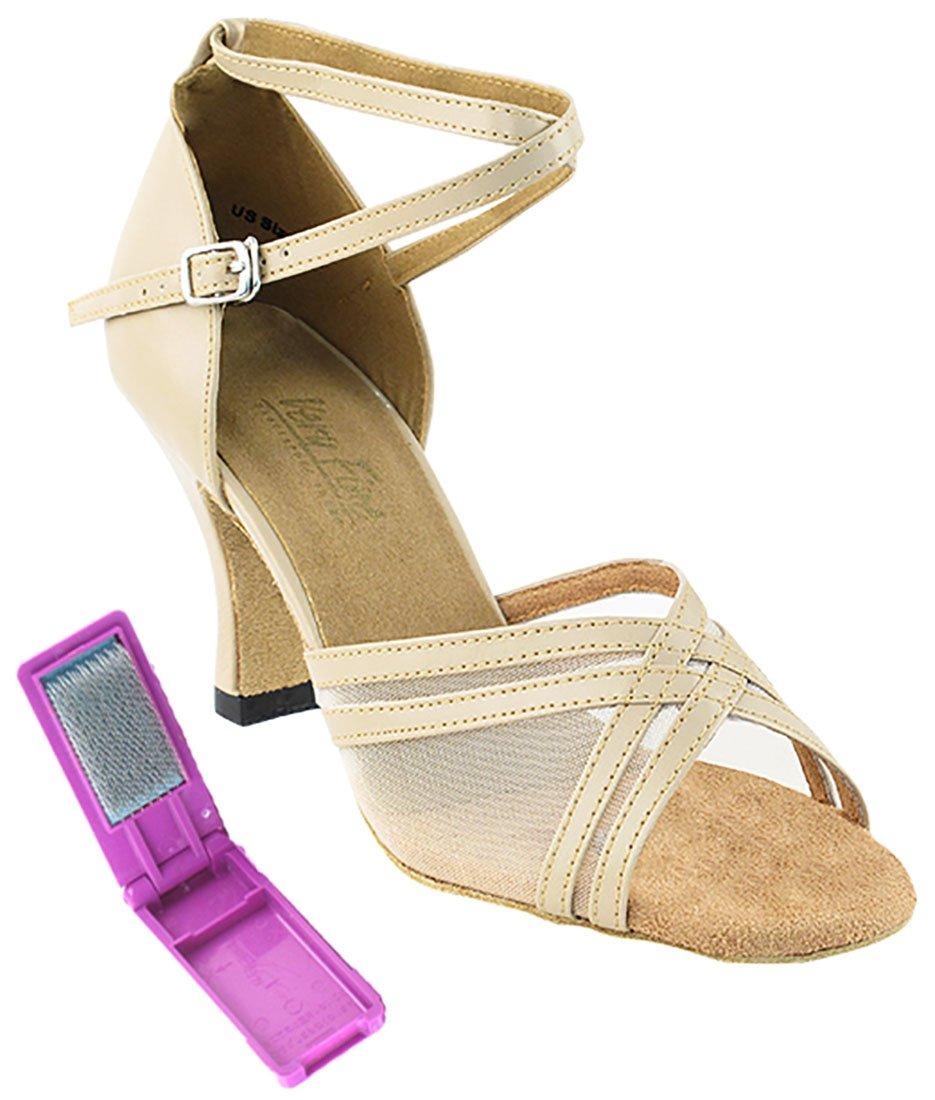 Very Fine Ballroom Latin Tango Salsa Dance Shoes for Women 5017 2.5 inch Heel + Foldable Brush Bundle - Tan Leather & Flesh Mesh - 8.5