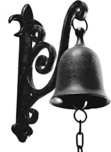 DECONOOR Vintage Cast Iron Dinner Bell as Entry Door Bell, Outside Hanging Decor or Indoor Decoration Wall Antique Farm and Front Gate Bell, Jet Black