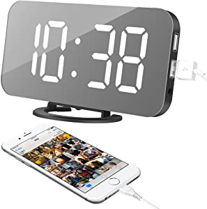 "Alarm Clock, LED Digital Clock with 6.5"" Large Display, Dual USB Charging Ports, Easy Snooze Function, Diming Mode, Mirror Surface Clock for Bedroom Living Room Office Travel (White Digital)"