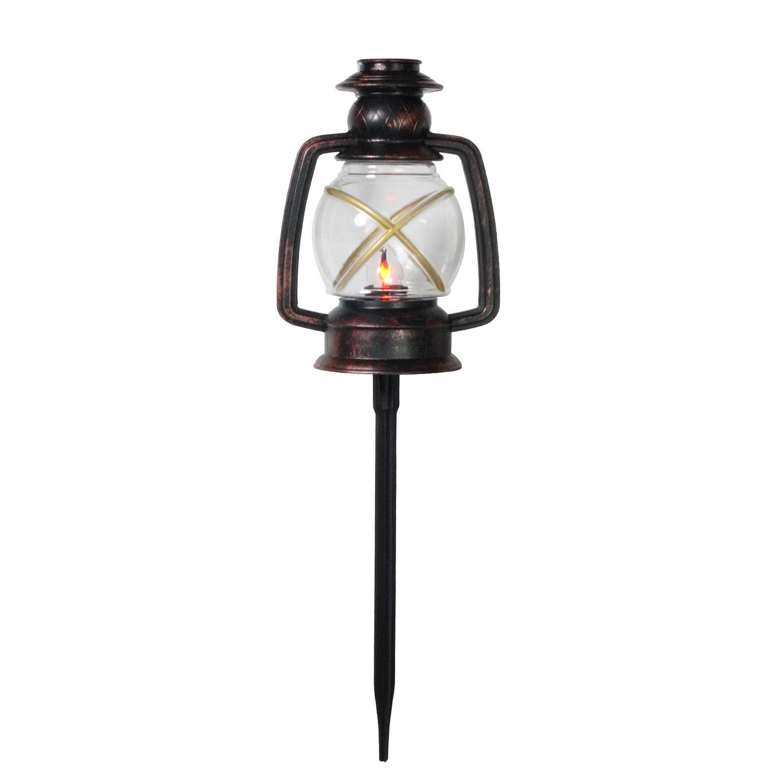 Northlight Set of 3 Flickering Bronze Lantern Christmas Pathway Markers