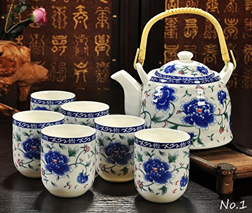 China Ceramic Teacup (Jingdezhen Porcelain,7-Pieces Tea Set, One loop-handled Teapot, Six Teacups, China Jin De Zhen Ceramic, Blue and White Porcelain, GJP-14)