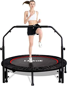 """FirstE 48"""" Foldable Fitness Trampolines, Rebound Recreational Exercise Trampoline with 4 Level Adjustable Heights Foam Handrail, Jump Trampoline for Kids and Adults Indoor&Outdoor, Max Load 440lbs"""