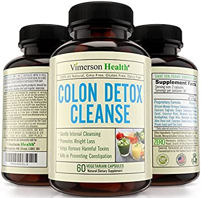 Vimerson Health Colon Detox Cleanse & Weight Loss Supplement. All Natural, Non-Gmo, Gluten Free. Works for Men & Women. Gentle, Safe & Effective Cleanser to Lose Weight & Flush Toxins. Made in the USA