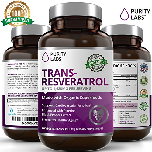 PurityLabs Trans Resveratrol Supplement Capsules - 1,400mg, 60 Veggie Capsules with Anti Aging Polyphenols Trans-Resveratrol, Green Tea, Pomegranate, Grape Seed Extract, and the Antioxidant Vitamin C - Anti Aging Capsules