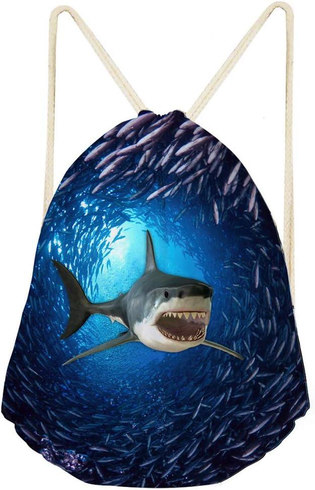 Upetstory Shark Print Drawstring Backpack Rucksack Shoulder Bags, Blue Underwater Lightweight Gym Bag Sackpack for Women and Men