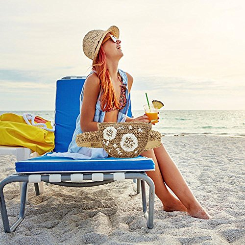 main sable Bolso taille voyage broderie de fait conception femmes paquet plage Samber sac herbe paille taille sac Chameau fleur Beige Fanny ceinture sac été x1WUTSz