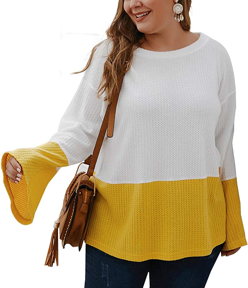 Womens Plus Size Casual Knit Tops,Long Bell Sleeve Round Neck Patchwork Block Color Loose Lightweight Shirts Sweater