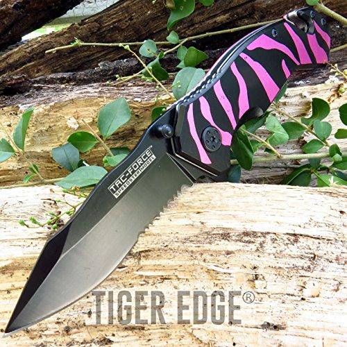 (New SPRING-ASSIST FOLDING POCKET ProTactical Limited Edition Elite Knife   Tac-Force Pink Black Tiger Stripes Serrated)