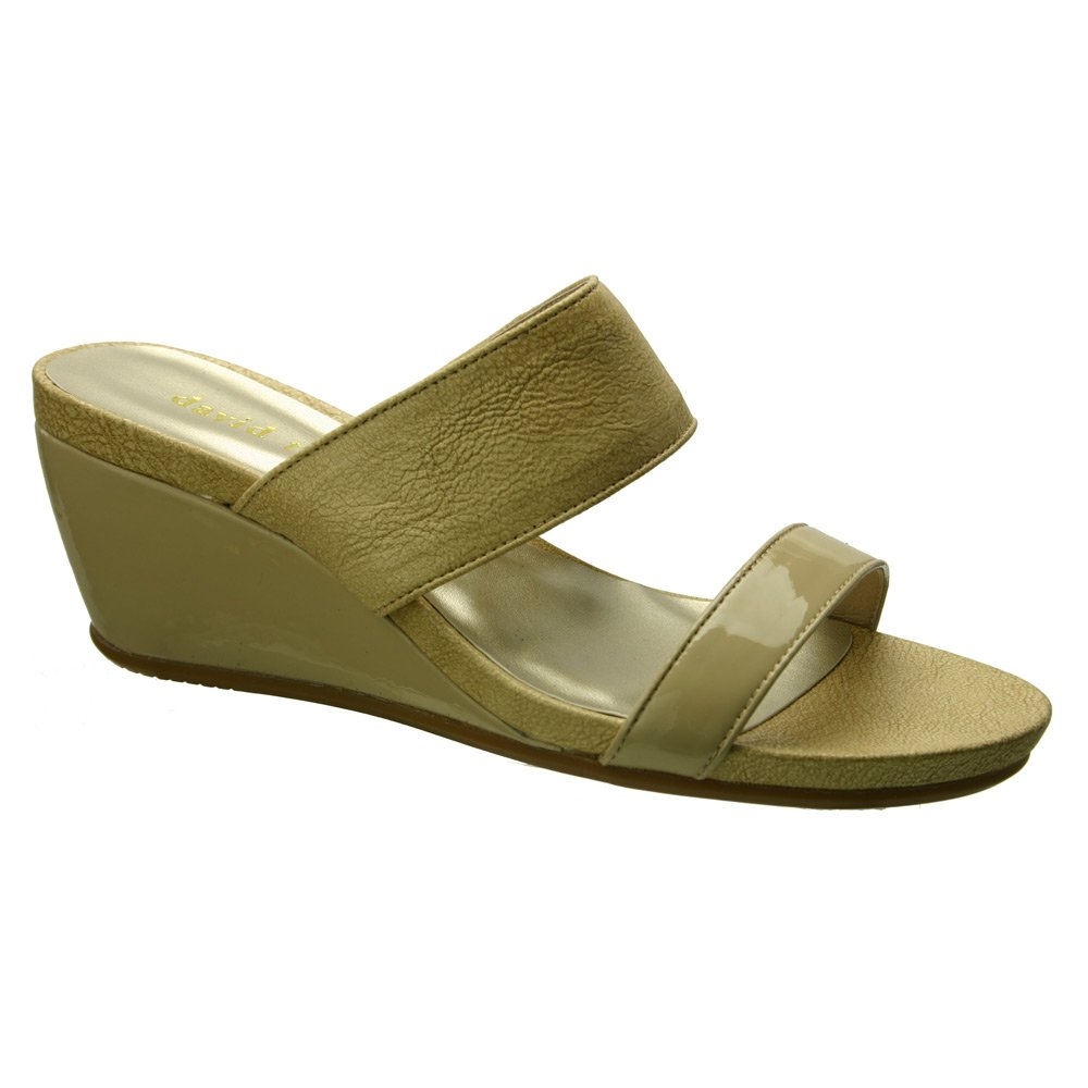 David Tate Women's Charlotte Wedge Sandal,Nude Vintage Goat/Patent Leather,US 6 B012R8H4T2 9 B(M) US|Nude