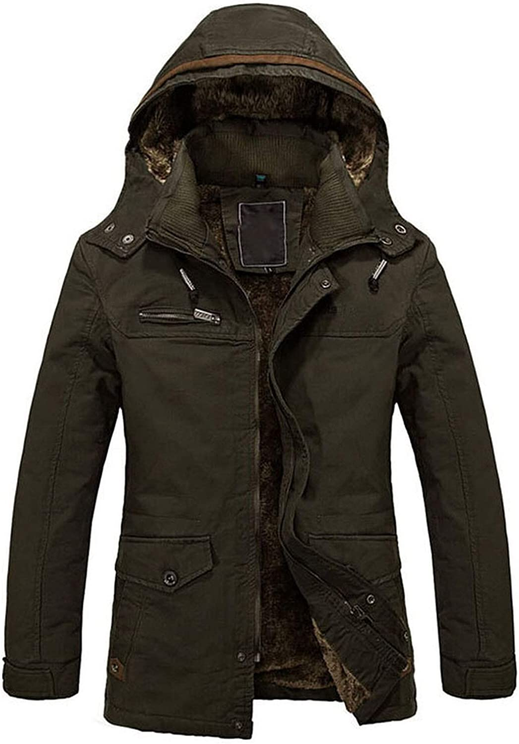 Winter Men Jackets Coats Leisure Windproof Thick Warm Jacket Mens Long Trench Coat Parka,Army Green,4XL