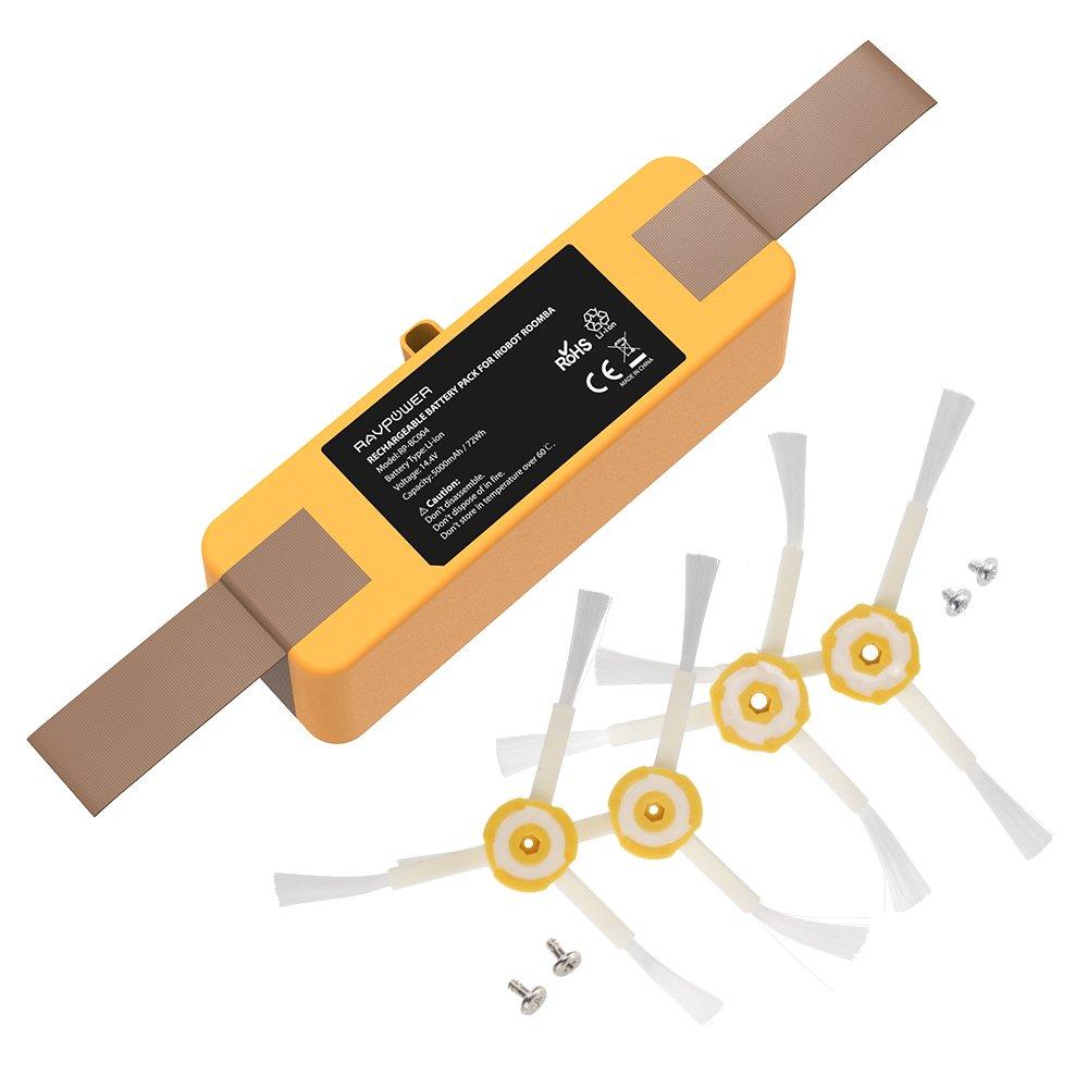 RAVPower Batería de repuesto 5000 mAh para aspiradora iRobot Roomba 100% compatible con las series R3, 500, 530, 540, 550, 570, 580, 595, 600, 630, 650, ...