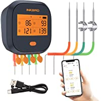 Inkbird WiFi Meat Thermometer Wireless Remote BBQ Thermometer IBBQ-4T with 4 Probes, Magnet Ovenproof Digital Cooking…