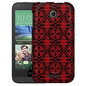 HTC Desire 510 Case, Slim Fit Snap On Cover by Trek Victorian Gothic Red on Black Case