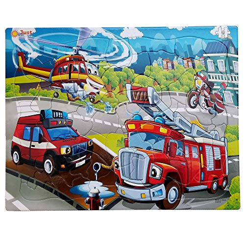 Just Smarty Jigsaw Puzzle Firefighter 52 Pieces for Kids Ages 4, 5, 6, 7 Year Old with Fun Shapes and Tray. Fun Learning…
