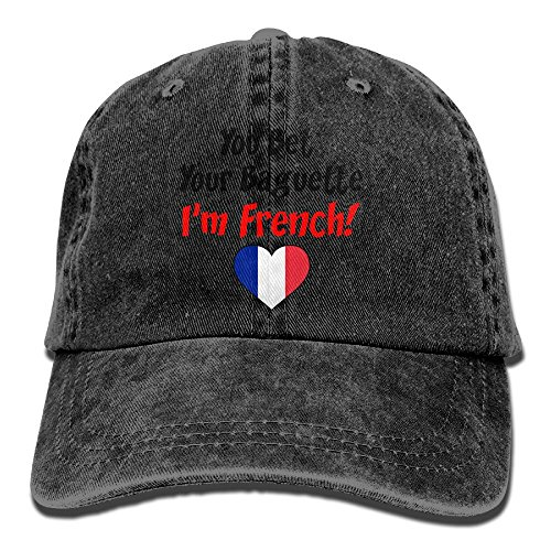 Wohio Bet Your Baguette French Summer Caps One Size Fit All Black