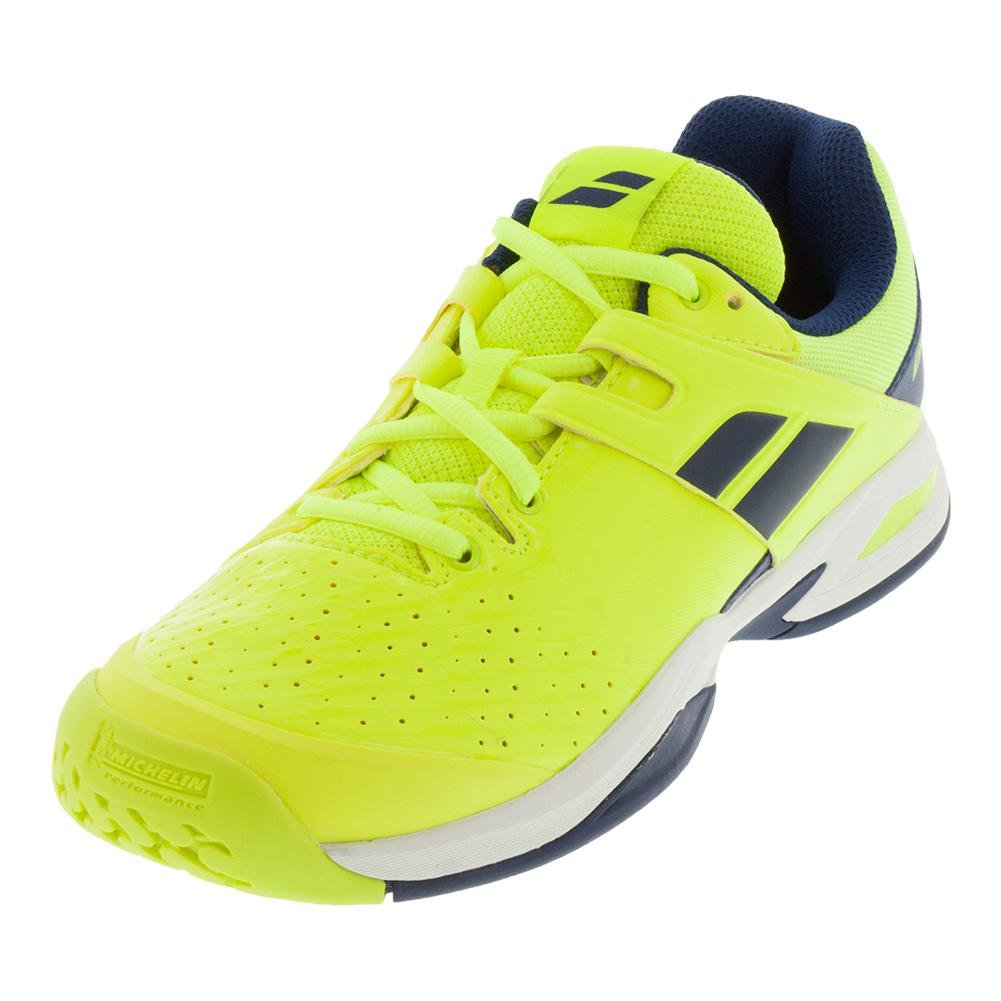 Babolat Kid's Propulse Fury All Court Junior Tennis Shoes B079J51WVG 13.5 M US Fluo Yellow and Estate Blue