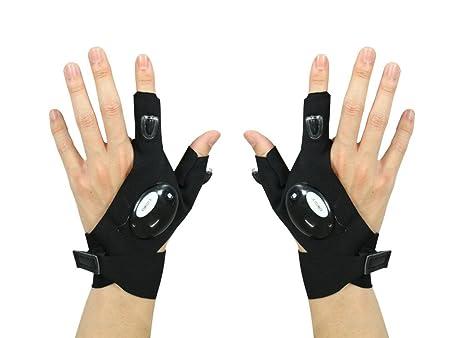 43286df18be Amazon.com  LED Flashlight Magic Strap Fingerless Gloves By ...
