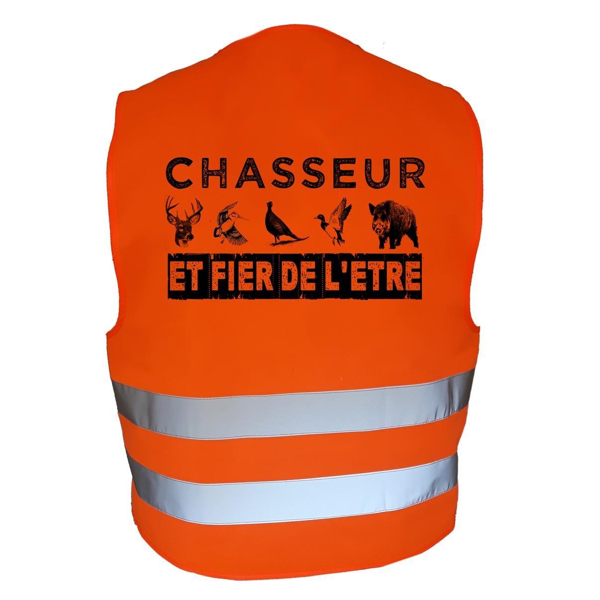 Chasseur et Fier de l/être AtooDog Gilet de Chasse Fluo r/éfl/échissant