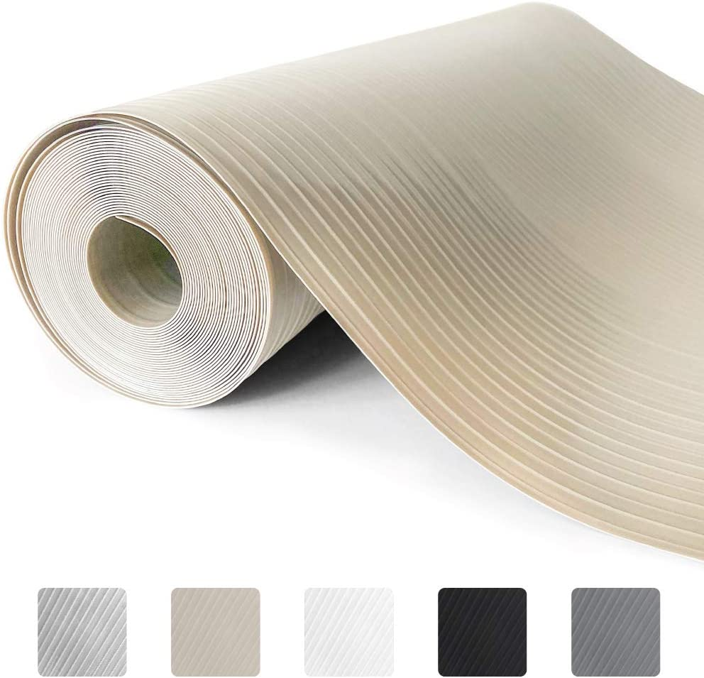 Gorilla Grip Ribbed Top Drawer and Shelf Liner, Non Adhesive Roll, 20 Inch x 10 FT, Durable and Strong, Grip Liners for Drawers, Shelves, Kitchen Cabinets, Storage and Kitchens, Beige Opaque Ribbed