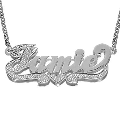 c086e9fd8c1ee SNS355iT Personalized Sterling Silver 3D Name Necklace with Accent on First  Initial and Tail