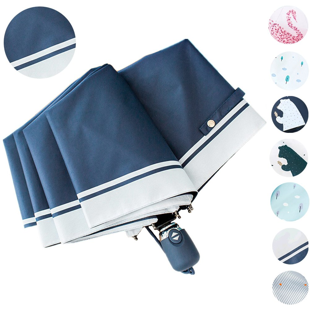17KM Outdoor Travel Sun & Rain UV Protection Parasol Umbrellas Lightweight Folding Auto Open Close Cute Rain Protection Golf Umbrella for Women