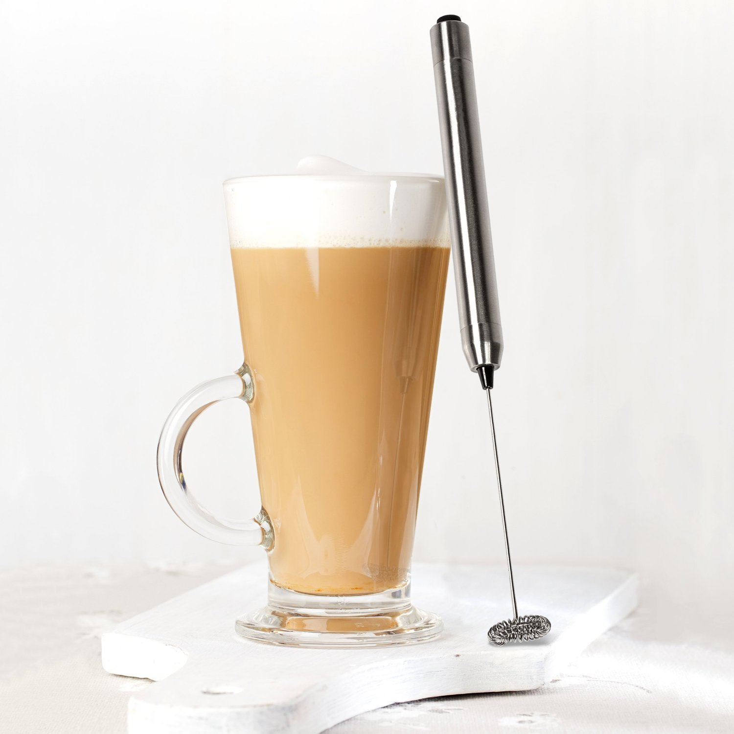 Thinp Handheld Milk Frother Wand with Stand - Professional Stainless Steel Drink Mixer & Barista Latte Art Tool - Make Decadent Cafe Style Foam for ...