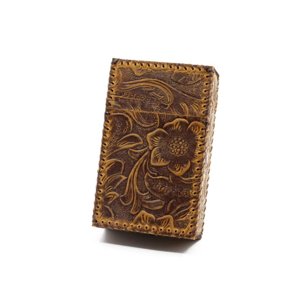 ZHONGYUE Handmade Cowhide, Leather Cigarette Case, Hard Boxed Cigarette Into DIY Personalized Cigarette Case, 20 Pieces, Brown/Black, Unique Design, Sturdy and Lightweight.