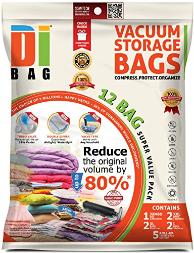 DIBAG® Space Saver Vacuum Storage Bags - 12 Premium Travel Space Bags - Bag Size: Jumbo XL XXL & Medium - 2X Sealed Compression Plastic Bags for Clothing Storage, Clothes Bedding & Packing