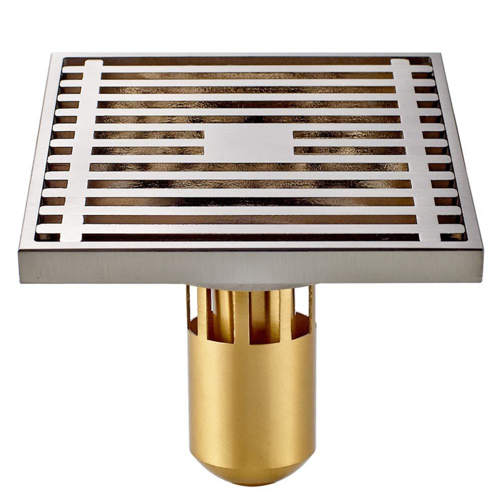 Brass Floor Drain Shower Drain Floor Drain - Square Kitchen Waste Drain Bathroom Deodorant Grate Drain Strainer Cover Grate,B by GPF (Image #1)