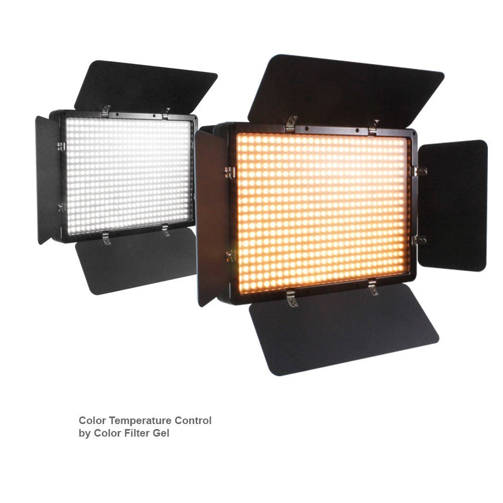 AC Power Cord AGG1684V3 LimoStudio 2 Sets of LED Barn Door Light Panel with Light Stand Tripod Continuous Light Kit Dimmable Color Temperature Control by Color Filter Gel