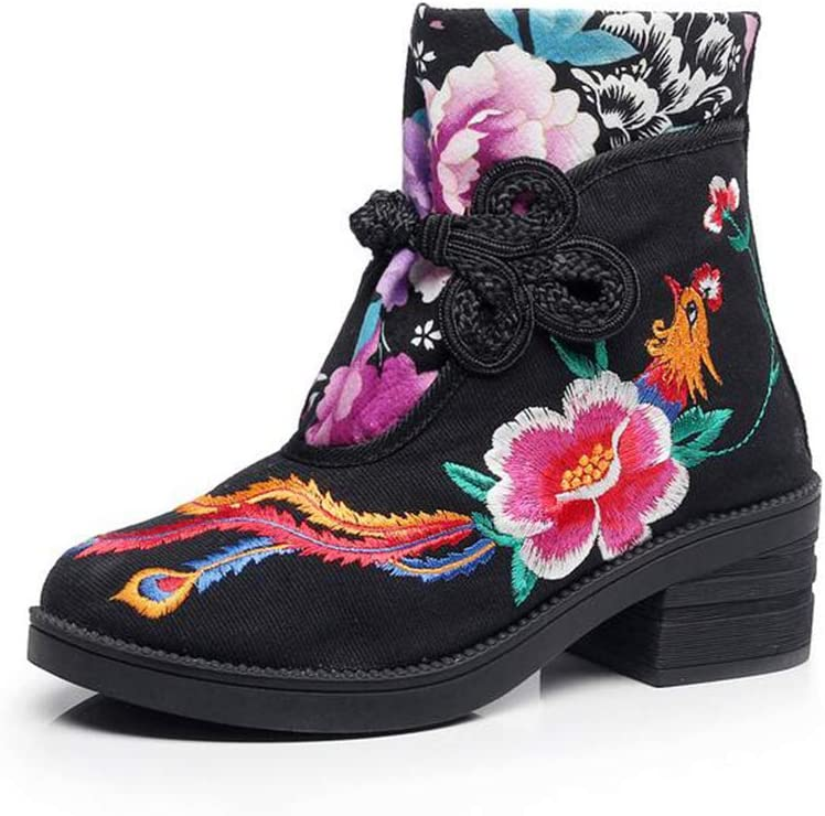 Fall Winter Comfort Knight Boots Hy Womens Booties Embroidered Shoes,Ladies National Wind Retro Flowers Ankle Boots Christmas Shoes Color : Black, Size : 37