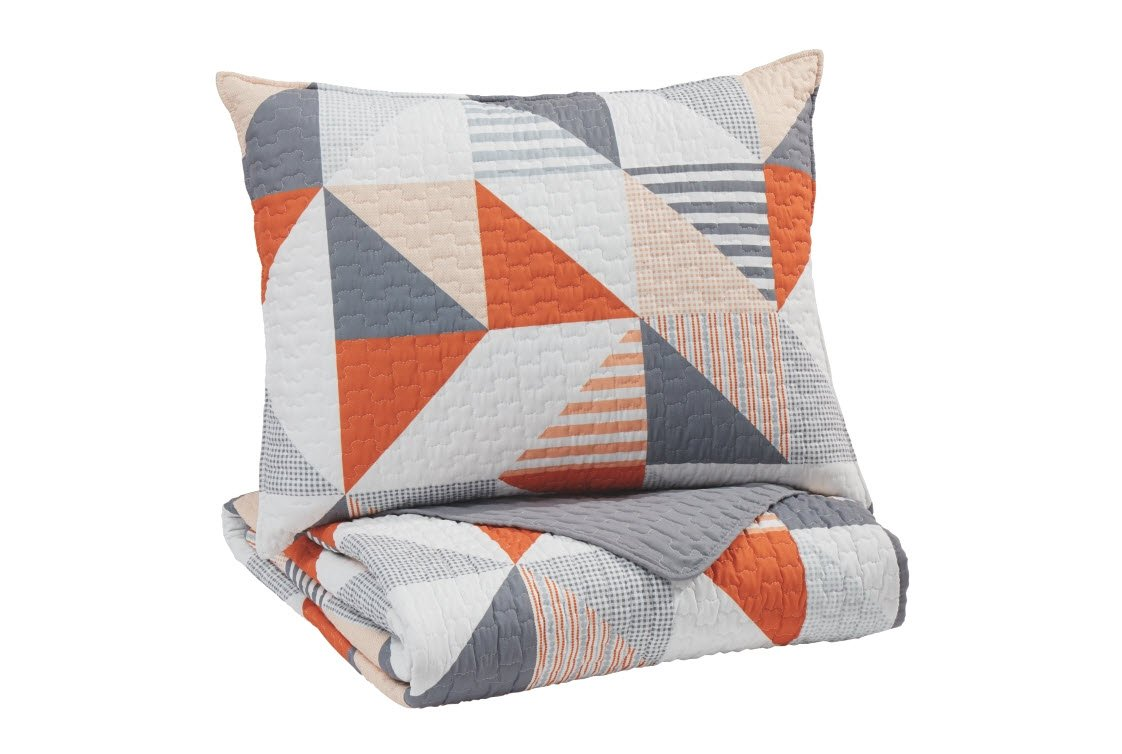 Signature Design by Ashley Layne 2Pc Coverlet Set, Gray/Orange Ashley Furniture Q408001T