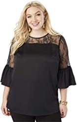 9992baca42901 Roamans Women s Plus Size Lace Illusion Blouse with Bell Sleeves