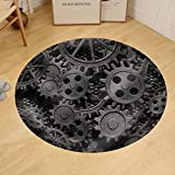 Gzhihine Custom round floor mat Many Old Rusty Metal Gears or Machine Parts
