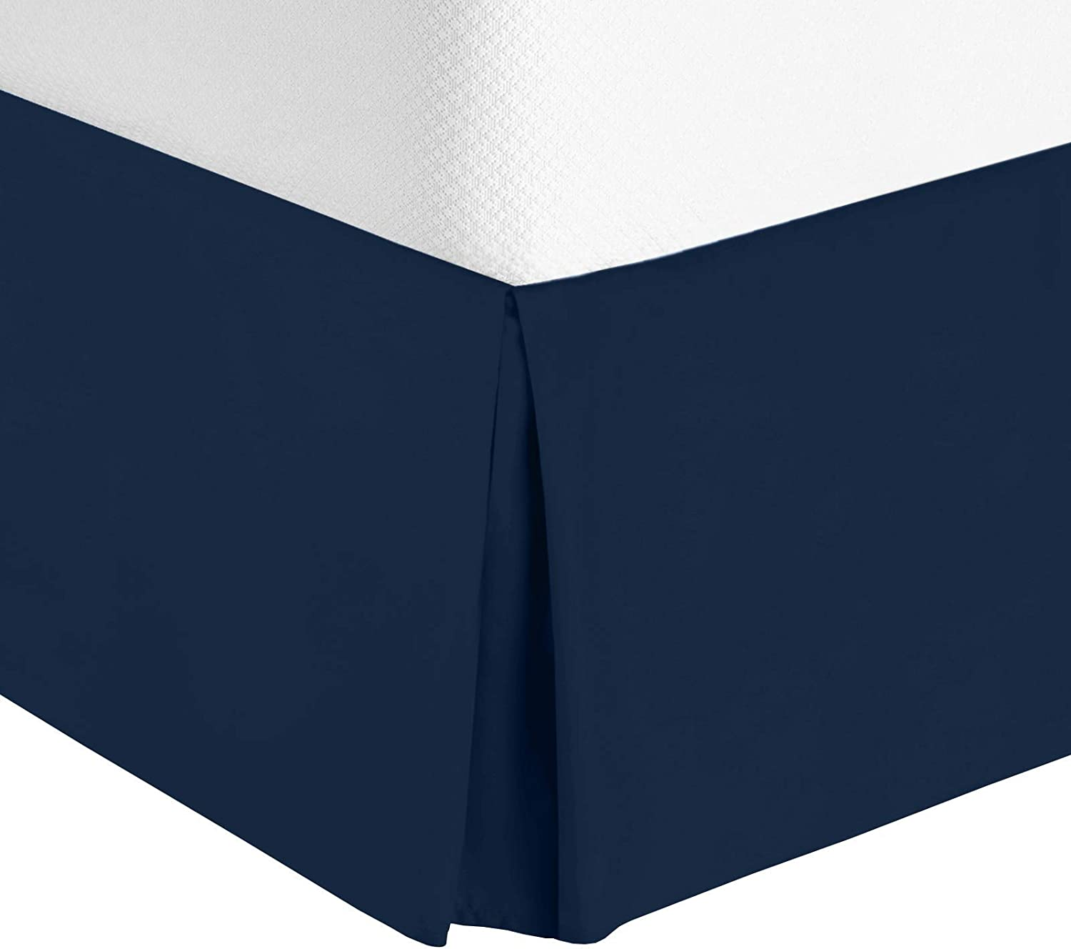 """White Cal King 14"""" Drop Dust Ruffle Hotel Luxury Pleated Tailored Bed Skirt"""