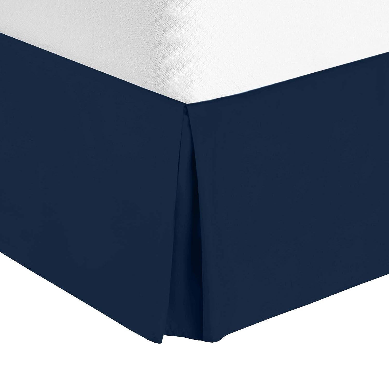 "Nestl Bedding Pleated Bed Skirt - Luxury Microfiber Dust Ruffle - Sleek Modern Bed Skirt - 14"" Tailored Drop, Queen, Navy"