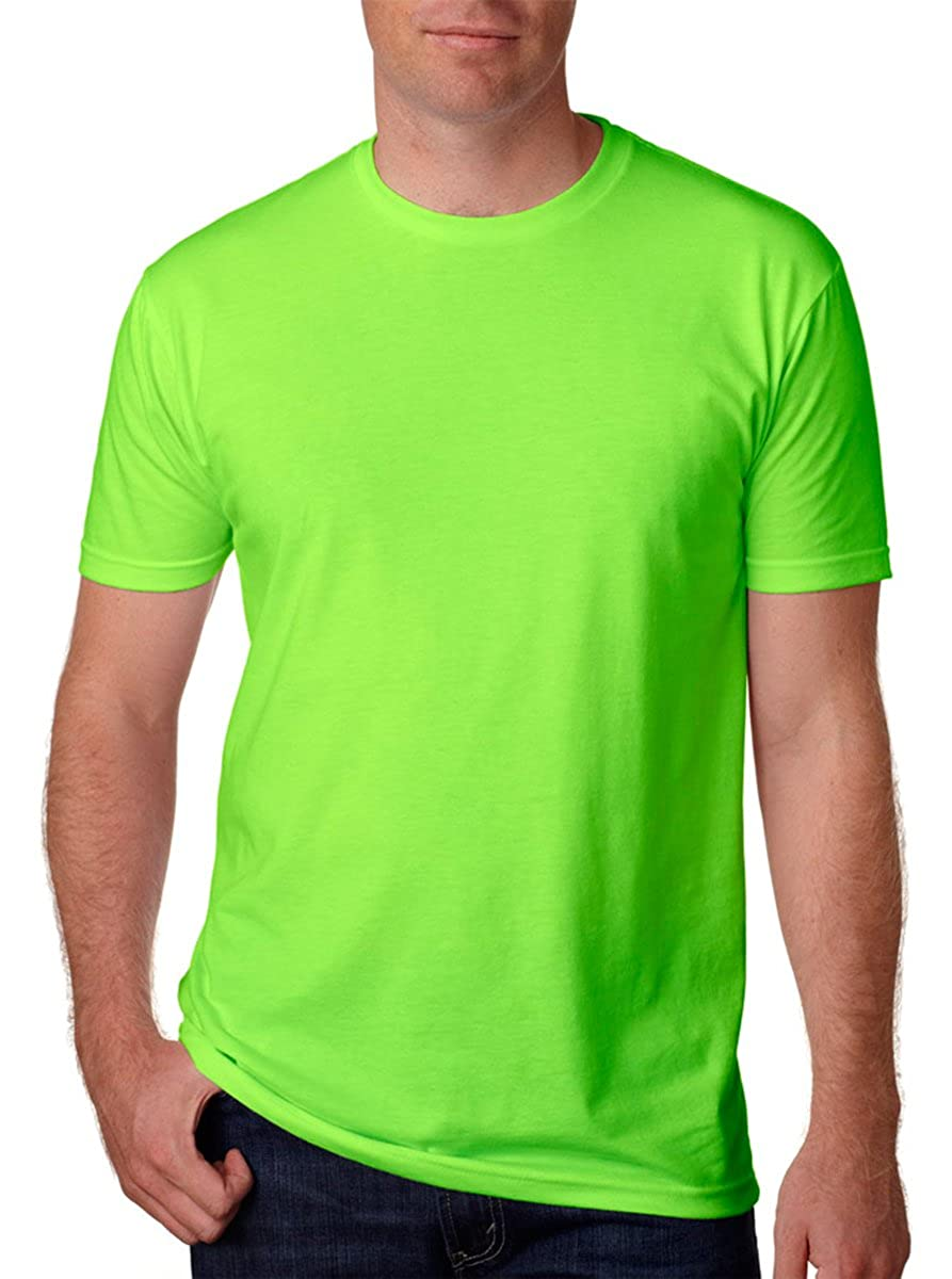 Pack of 3 Large Neon Heather Green Next Level Mens CVC Jersey T-Shirt