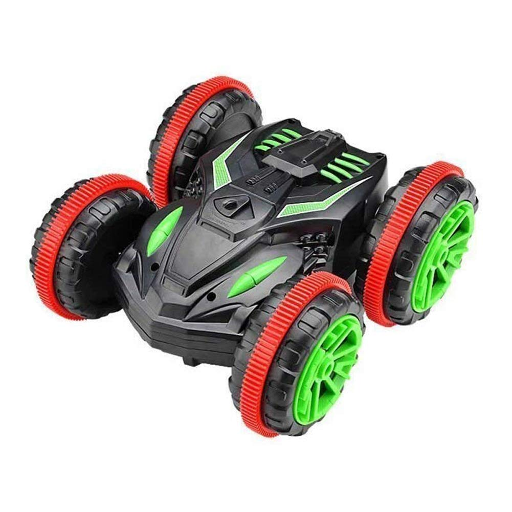 Braceus 2.4GHz Double Side RC Car Amphibious Waterproof Stunt Vehicle Off-Road Kids Toy Black+Green