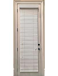 Custom Made, Faux Wood Horizontal Window Blinds For Doors, Snow White (Stark