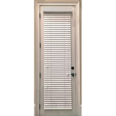 Custom-Made, Faux Wood Horizontal Window Blinds for Doors, Snow White (Stark White,) 2 Inch Slats, Outside Mount