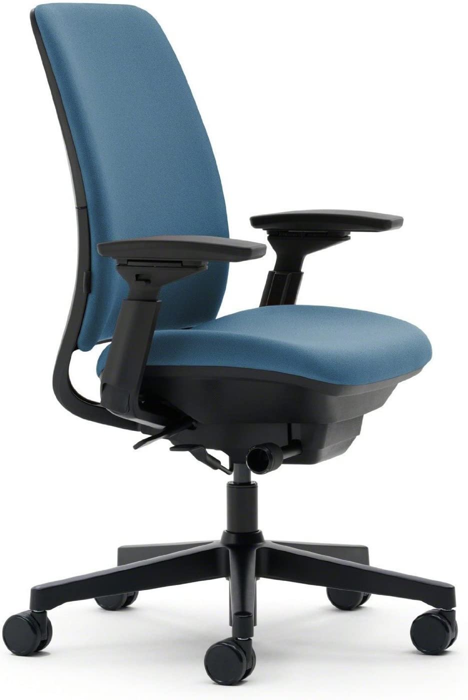 Steelcase Amia Ergonomic Office Chair with Adjustable Back Tension and Arms | Flexible Lumbar with Sliding Seat | Black Frame and Buzz2 Blue Fabric