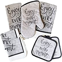 Inspirational Kitchen Linen 7 Piece Bundle - With 2 Dish Towels, 2 Dishcloths, 2 Potholders, and 1 Oven Mitt (Enjoy Every Moment)