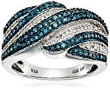 Sterling Silver Blue and White Diamond Cross-Over Ring (1/4 cttw, J-K Color, I2-I3 Clarity), Size 7