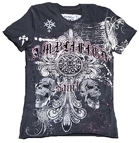 Pour Saint Amplified Sinner Gothique Charcoal Homme shirt Croix Strass Gris Skull Anthracite T Pearl 0wUxqUrE1