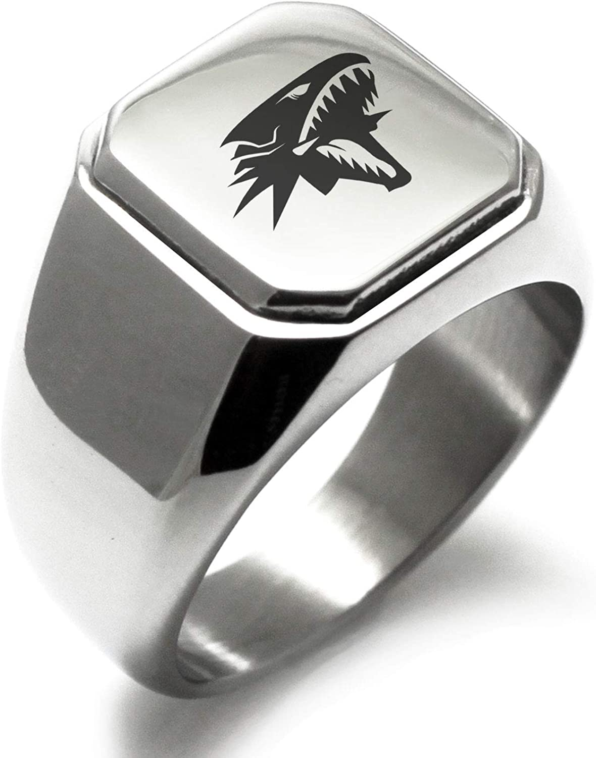 Blue-Eyes White Dragon Stainless Steel Engraved Classic Square Flat Top Biker Style Polished Ring Yu-Gi-Oh