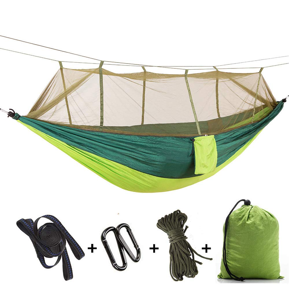 Oufiyap Camping Hammock with Mosquito Net and Rain Fly with Bug Net and Tarp Reinforced Not to Tear But Still Lightweight Extra Pocket Safe Tree Straps (Dark Green Fruit gre) by Oufiyap