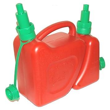 Garrafa combinada para Combustible y Aceite para Cadena de Motosierra, con boquillas con Sistema antiderrame